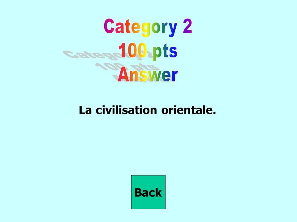 La civilisation orientale. Back