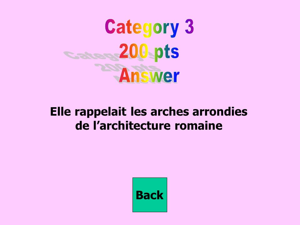 Elle rappelait les arches arrondies de l'architecture romaine Back
