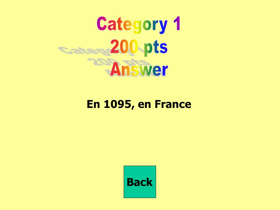 En 1095, en France Back