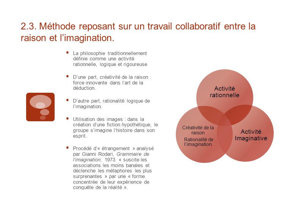 2.3. Méthode reposant sur un travail collaboratif entre la raison et l'imagination.  La philosophie traditionnellement définie comme une activité rat