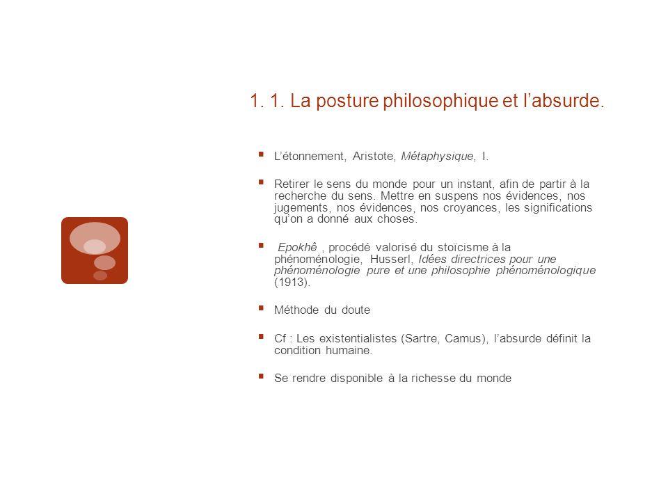 1. 1. La posture philosophique et l'absurde.  L'étonnement, Aristote, Métaphysique, I.  Retirer le sens du monde pour un instant, afin de partir à l