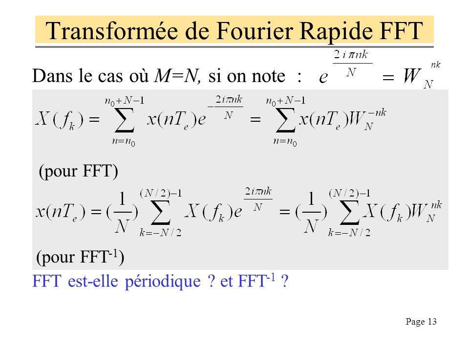 Page 12 Transformée de Fourier Discrète on définit la transformée de Fourier discrète TFD par : c'est une fonction périodique de la fréquence f, la pé