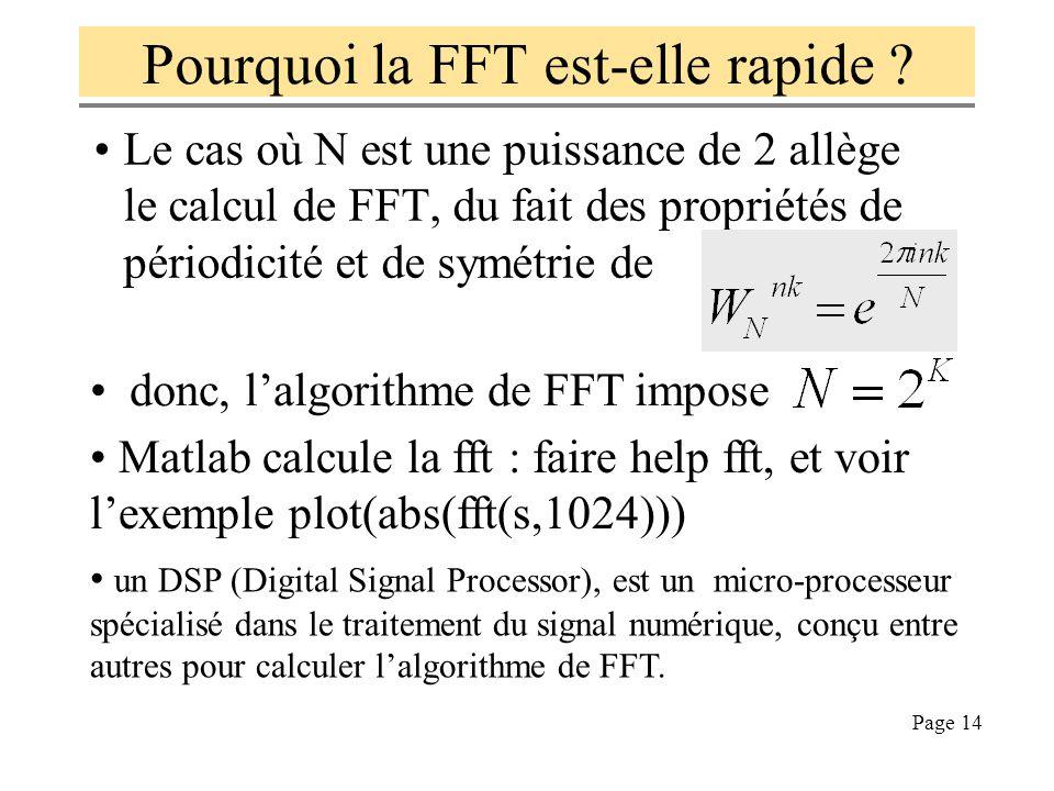 Page 13 Dans le cas où M=N, si on note : FFT est-elle périodique ? et FFT -1 ? (pour FFT) (pour FFT -1 ) Transformée de Fourier Rapide FFT