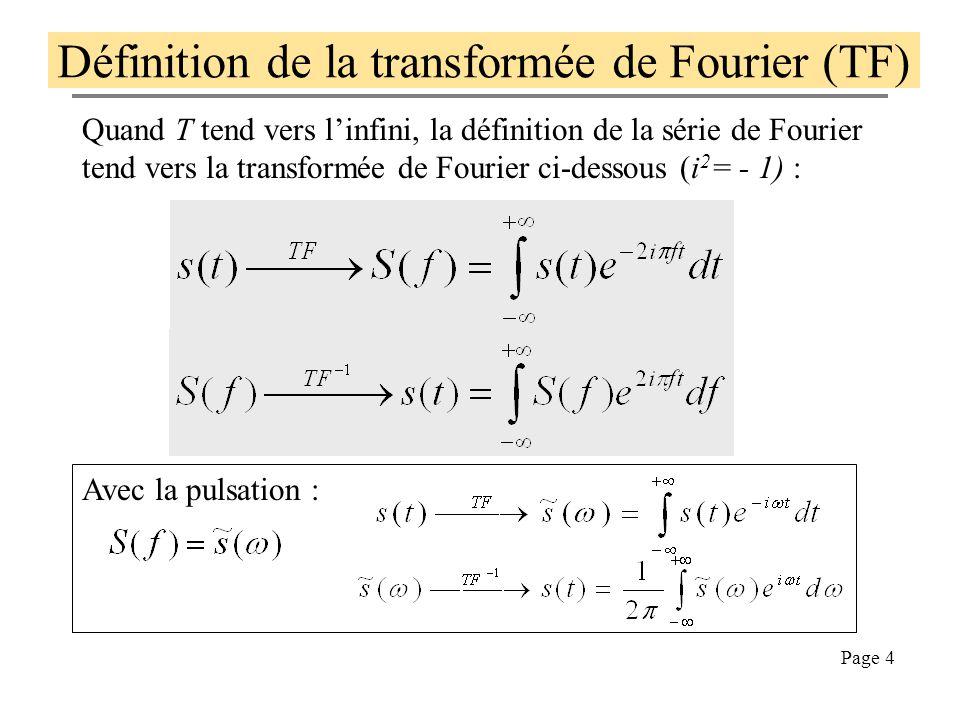 Page 3 Prenons l'exemple du signal carré Le signal carré s(t) dessiné ci-dessous peut être décomposé sur la durée d'une période (ici T=1/440s) en séri