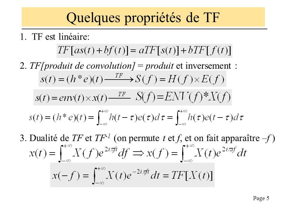 Page 4 Définition de la transformée de Fourier (TF) Avec la pulsation : Quand T tend vers l'infini, la définition de la série de Fourier tend vers la