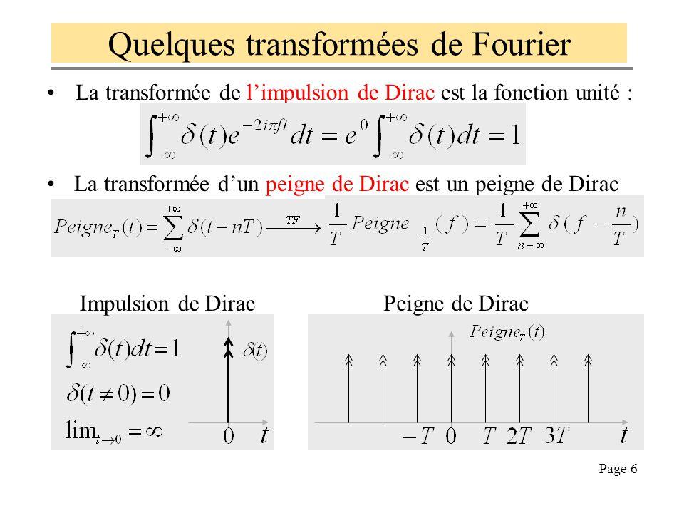 Page 5 Quelques propriétés de TF 1. TF est linéaire: 2. TF[produit de convolution] = produit et inversement : 3. Dualité de TF et TF -1 (on permute t