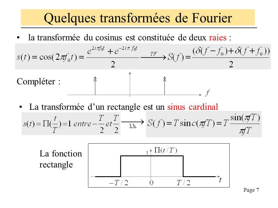 Page 6 Quelques transformées de Fourier La transformée de l'impulsion de Dirac est la fonction unité : La transformée d'un peigne de Dirac est un peig