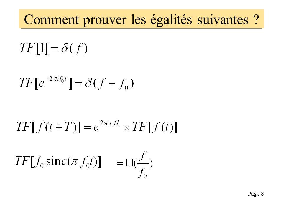 Page 7 Quelques transformées de Fourier la transformée du cosinus est constituée de deux raies : La transformée d'un rectangle est un sinus cardinal L
