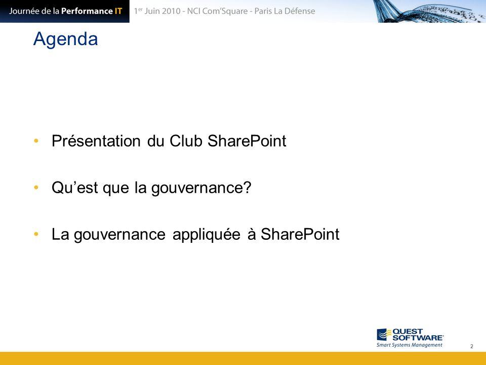 Agenda Présentation du Club SharePoint Qu'est que la gouvernance? La gouvernance appliquée à SharePoint 2
