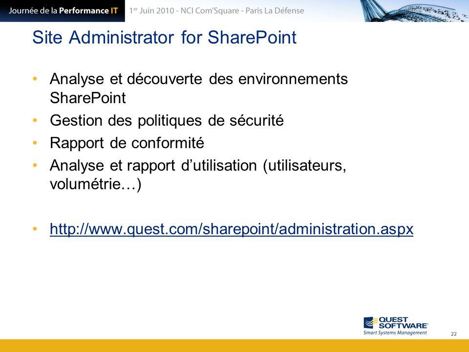 Site Administrator for SharePoint Analyse et découverte des environnements SharePoint Gestion des politiques de sécurité Rapport de conformité Analyse