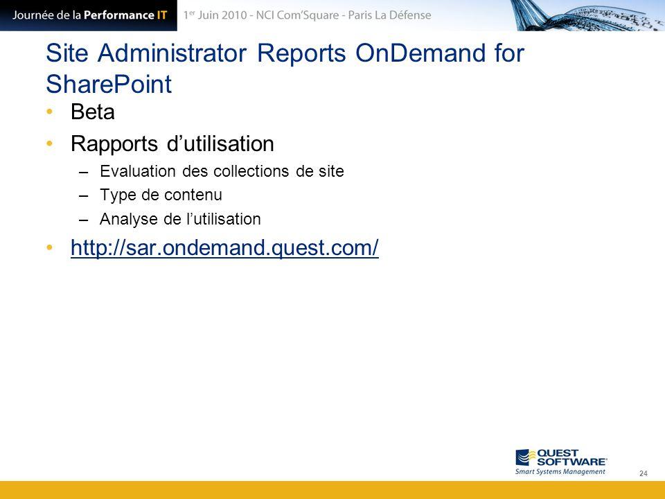 Site Administrator Reports OnDemand for SharePoint Beta Rapports d'utilisation –Evaluation des collections de site –Type de contenu –Analyse de l'util