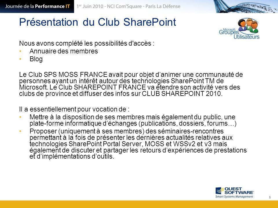 Présentation du Club SharePoint Nous avons complété les possibilités d'accès : Annuaire des membres Blog Le Club SPS MOSS FRANCE avait pour objet d'an