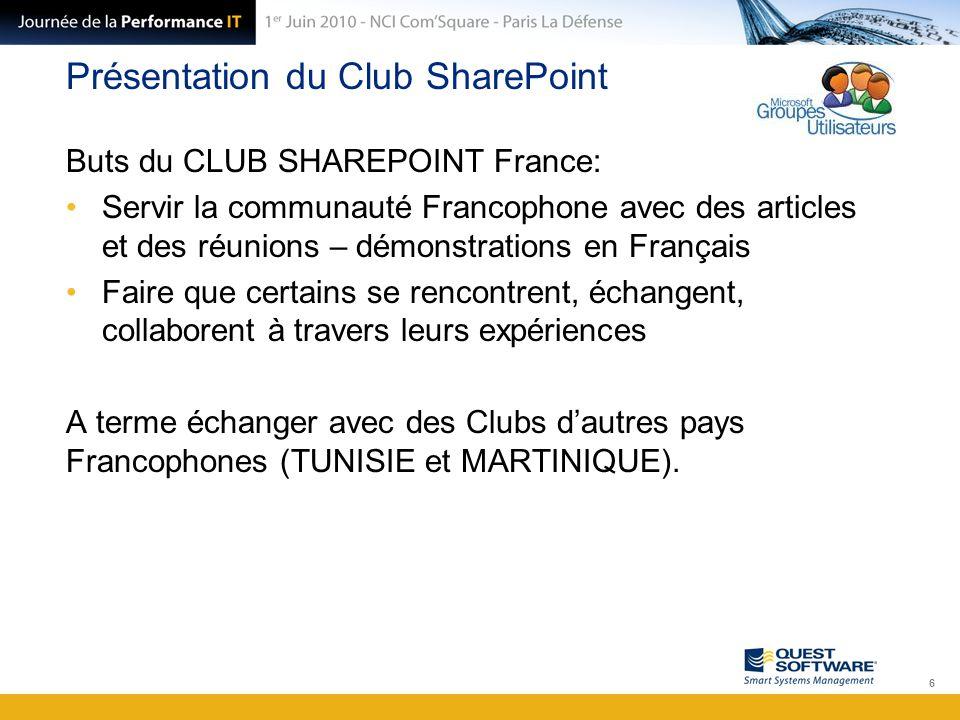 Présentation du Club SharePoint Buts du CLUB SHAREPOINT France: Servir la communauté Francophone avec des articles et des réunions – démonstrations en