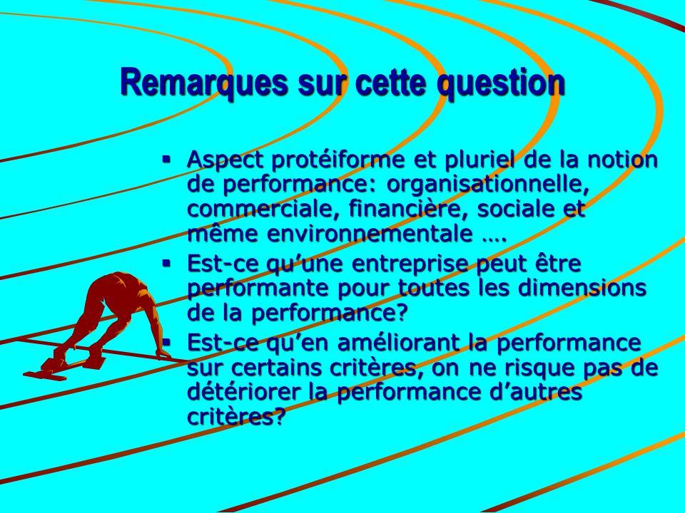 Remarques sur cette question  Aspect protéiforme et pluriel de la notion de performance: organisationnelle, commerciale, financière, sociale et même
