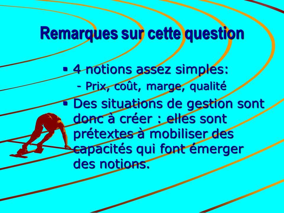 Remarques sur cette question  4 notions assez simples: -Prix, coût, marge, qualité  Des situations de gestion sont donc à créer : elles sont prétext