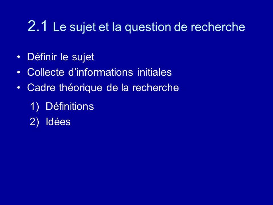 2.1 Le sujet et la question de recherche Définir le sujet Collecte d'informations initiales Cadre théorique de la recherche 1)Définitions 2)Idées