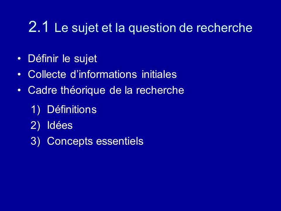 2.1 Le sujet et la question de recherche Définir le sujet Collecte d'informations initiales Cadre théorique de la recherche 1)Définitions 2)Idées 3)Concepts essentiels