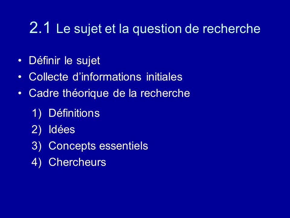 2.1 Le sujet et la question de recherche Définir le sujet Collecte d'informations initiales Cadre théorique de la recherche 1)Définitions 2)Idées 3)Concepts essentiels 4)Chercheurs