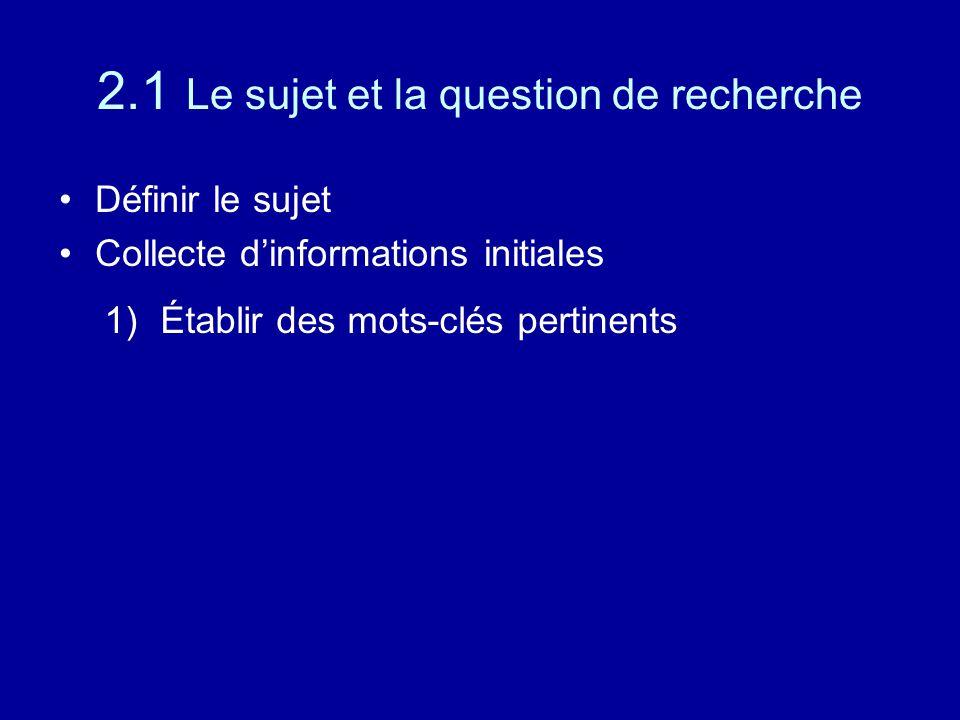 2.1 Le sujet et la question de recherche Définir le sujet Collecte d'informations initiales 1)Établir des mots-clés pertinents