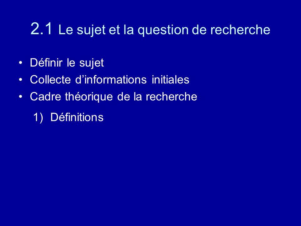 2.1 Le sujet et la question de recherche Définir le sujet Collecte d'informations initiales Cadre théorique de la recherche 1)Définitions