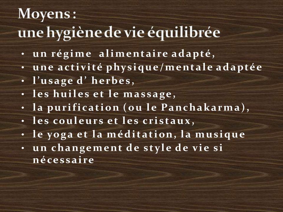 un régime alimentaire adapté, une activité physique/mentale adaptée l'usage d' herbes, les huiles et le massage, la purification (ou le Panchakarma), les couleurs et les cristaux, le yoga et la méditation, la musique un changement de style de vie si nécessaire
