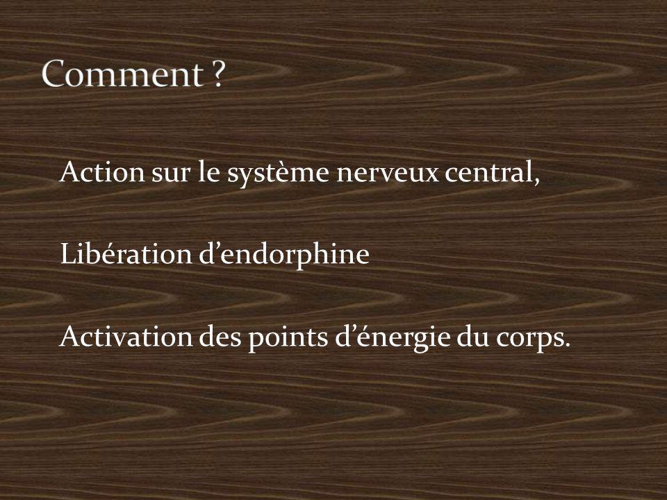 Action sur le système nerveux central, Libération d'endorphine Activation des points d'énergie du corps.