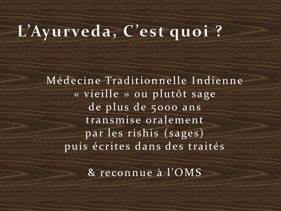 AYUR = Longévité, vie VEDA = Science Système de santé holistique qui prend l'humain dans son intégralité et dans sa relation à la nature Depuis le macrocosme jusqu'au microcosme