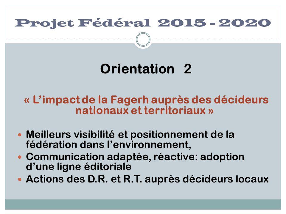 Projet Fédéral 2015 - 2020 Orientation 2 « L'impact de la Fagerh auprès des décideurs nationaux et territoriaux » Meilleurs visibilité et positionneme