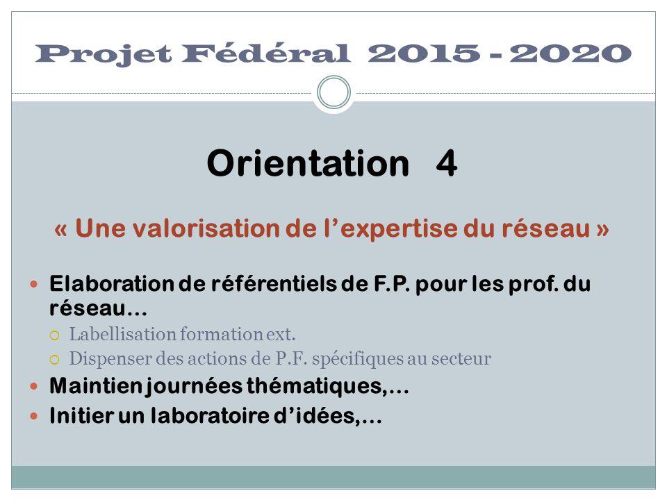 Projet Fédéral 2015 - 2020 Orientation 4 « Une valorisation de l'expertise du réseau » Elaboration de référentiels de F.P. pour les prof. du réseau… 