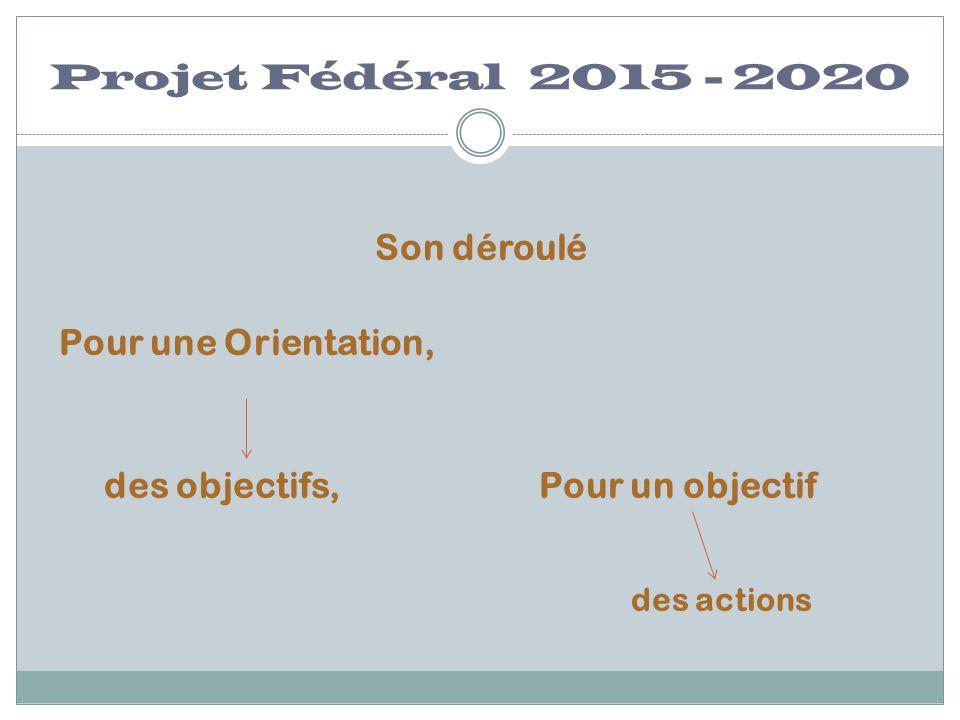 Projet Fédéral 2015 - 2020 Son déroulé Pour une Orientation, des objectifs,Pour un objectif des actions