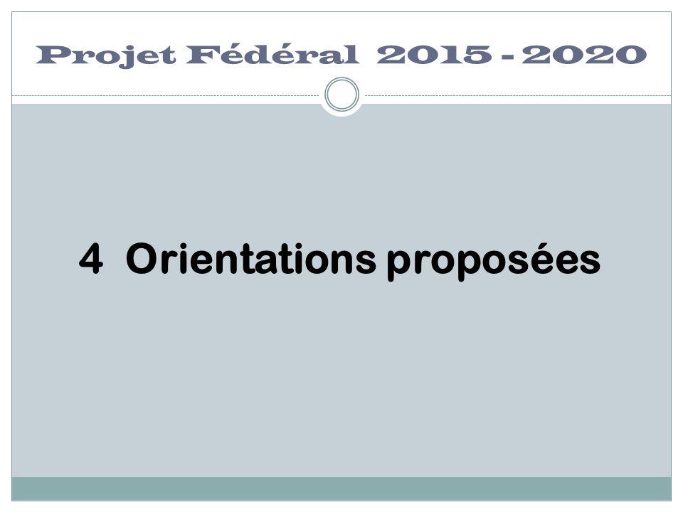 Projet Fédéral 2015 - 2020 4 Orientations proposées