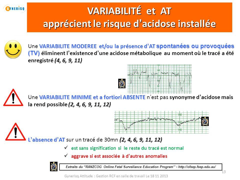 Gynerisq Attitude : Gestion RCF en salle de travail Le 18 11 2013 13 VARIABILITE MODEREE et/ou la présence d'AT spontanées ou provoquées (TV) (4, 6, 9