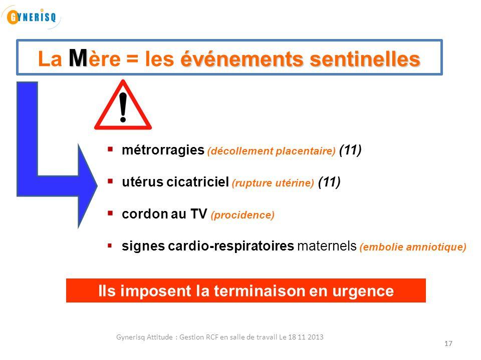 17 M événements sentinelles La M ère = les événements sentinelles  métrorragies (décollement placentaire) (11)  utérus cicatriciel (rupture utérine)