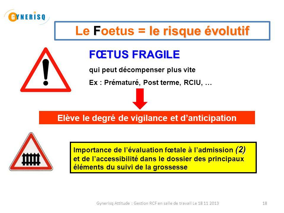 18 Fle risque évolutif Le Foetus = le risque évolutif FŒTUS FRAGILE qui peut décompenser plus vite Ex : Prématuré, Post terme, RCIU, … Elève le degré