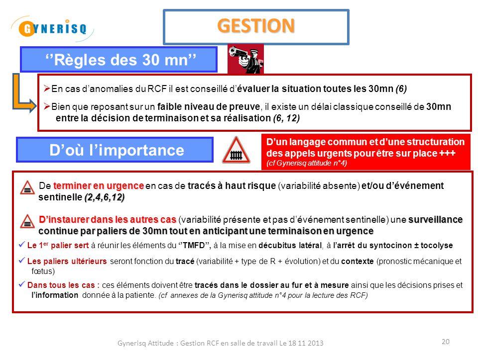Gynerisq Attitude : Gestion RCF en salle de travail Le 18 11 2013 21 Au bout du 1 er palier de 30 mn SI VARIABILITE MINIME (11) SI VARIABILITE MINIME (11) Ralentissements à Risque oui non Terminaison Persistance oui non Surveillance Expectative 30 mn Vérifier absence de cause médicamenteuse : morphiniques, sulfate de Mg, beta-méthasone