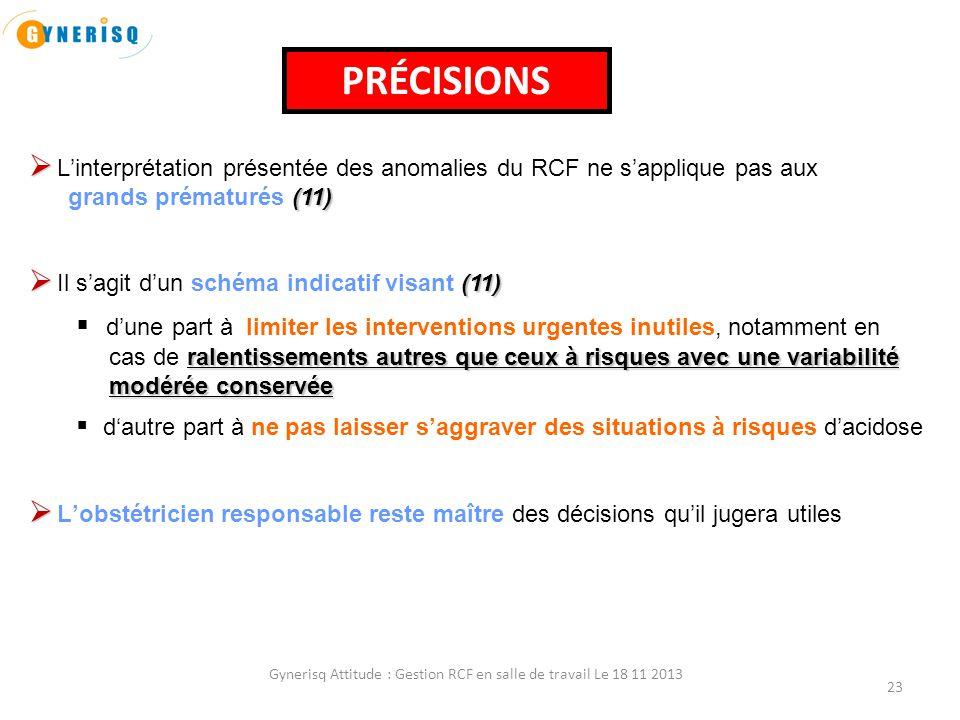 Gynerisq Attitude : Gestion RCF en salle de travail Le 18 11 2013 23   L'interprétation présentée des anomalies du RCF ne s'applique pas aux (11) gr