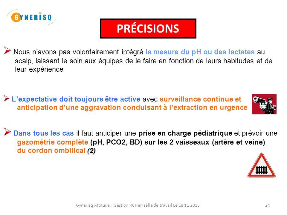 Gynerisq Attitude : Gestion RCF en salle de travail Le 18 11 201324 PRÉCISIONS  Nous n'avons pas volontairement intégré la mesure du pH ou des lactat
