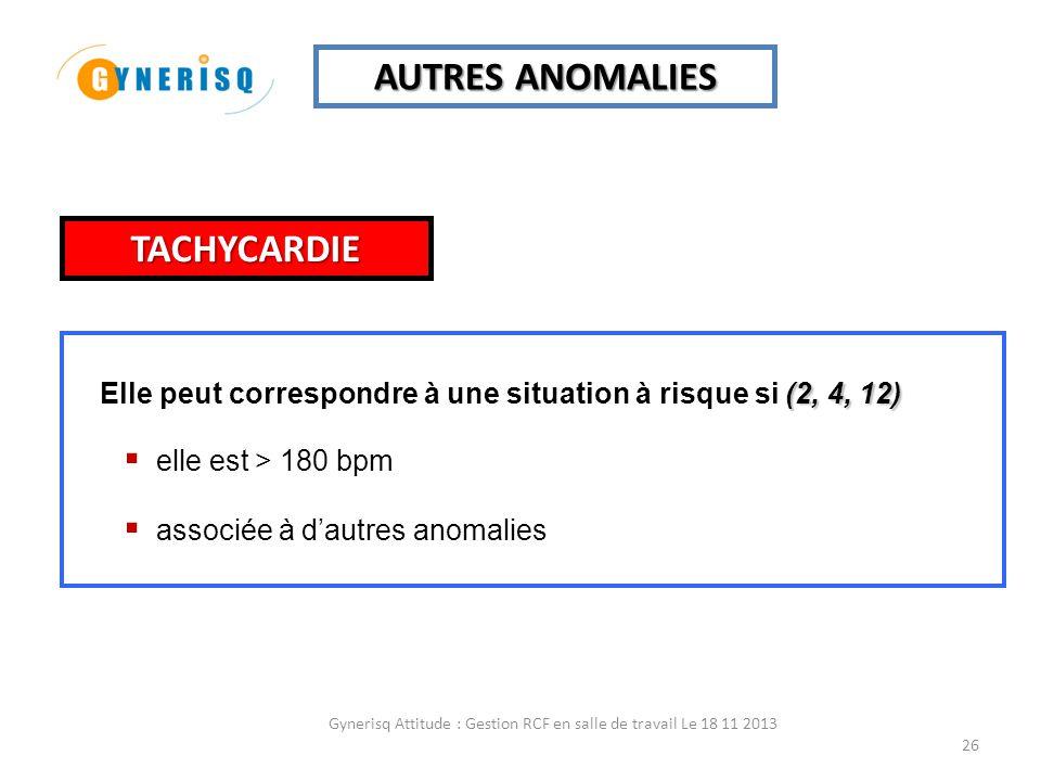 Gynerisq Attitude : Gestion RCF en salle de travail Le 18 11 2013 26 AUTRES ANOMALIES (2, 4, 12) Elle peut correspondre à une situation à risque si (2