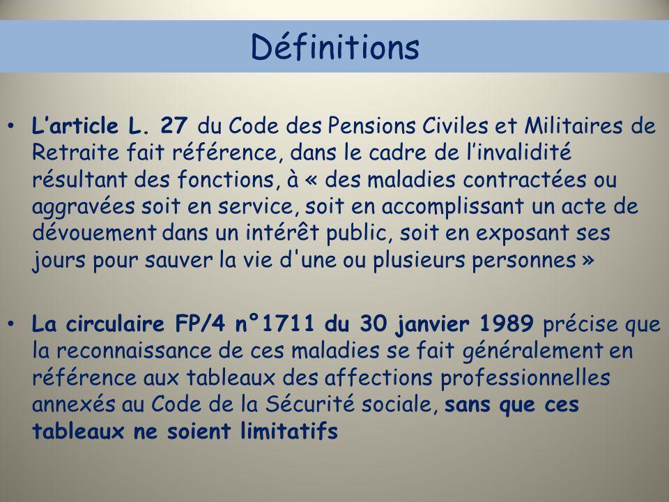 Définitions L'article L. 27 du Code des Pensions Civiles et Militaires de Retraite fait référence, dans le cadre de l'invalidité résultant des fonctio