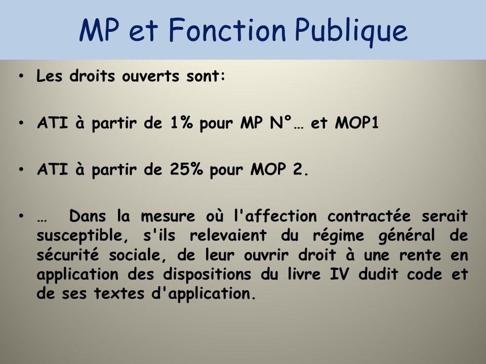 MP et Fonction Publique Les droits ouverts sont: ATI à partir de 1% pour MP N°… et MOP1 ATI à partir de 25% pour MOP 2. … Dans la mesure où l'affectio