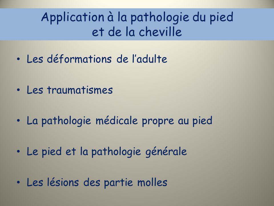 Application à la pathologie du pied et de la cheville Les déformations de l'adulte Les traumatismes La pathologie médicale propre au pied Le pied et l