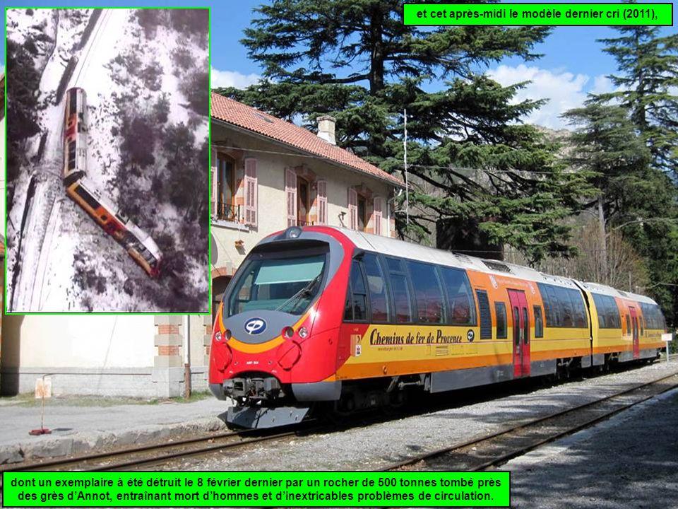 et cet après-midi le modèle dernier cri (2011), dont un exemplaire à été détruit le 8 février dernier par un rocher de 500 tonnes tombé près des grès d'Annot, entraînant mort d'hommes et d'inextricables problèmes de circulation.