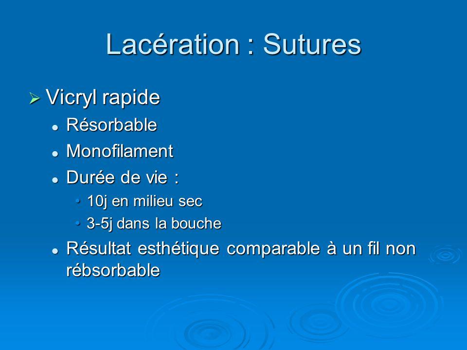 Lacération : Sutures  Vicryl rapide Résorbable Résorbable Monofilament Monofilament Durée de vie : Durée de vie : 10j en milieu sec10j en milieu sec