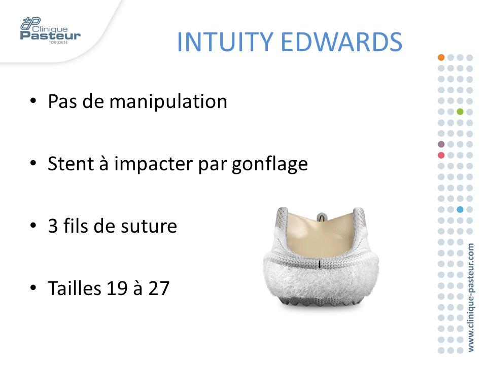 Pas de manipulation Stent à impacter par gonflage 3 fils de suture Tailles 19 à 27 INTUITY EDWARDS