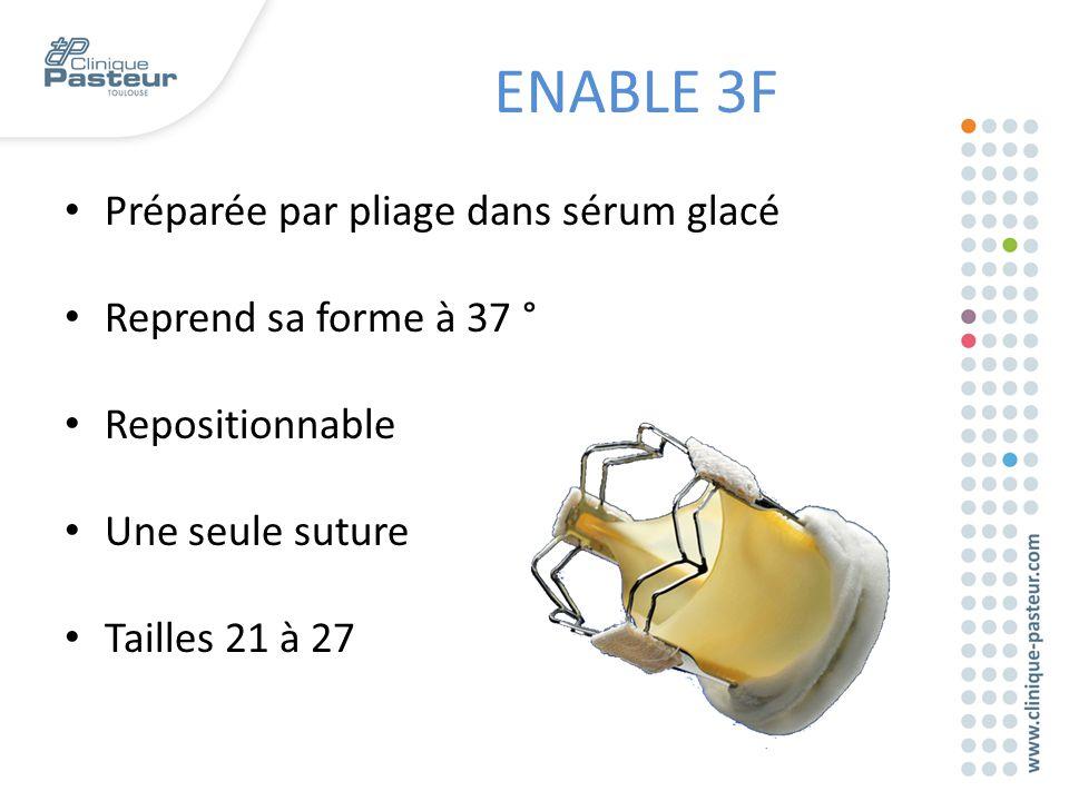 Préparée par pliage dans sérum glacé Reprend sa forme à 37 ° Repositionnable Une seule suture Tailles 21 à 27 ENABLE 3F