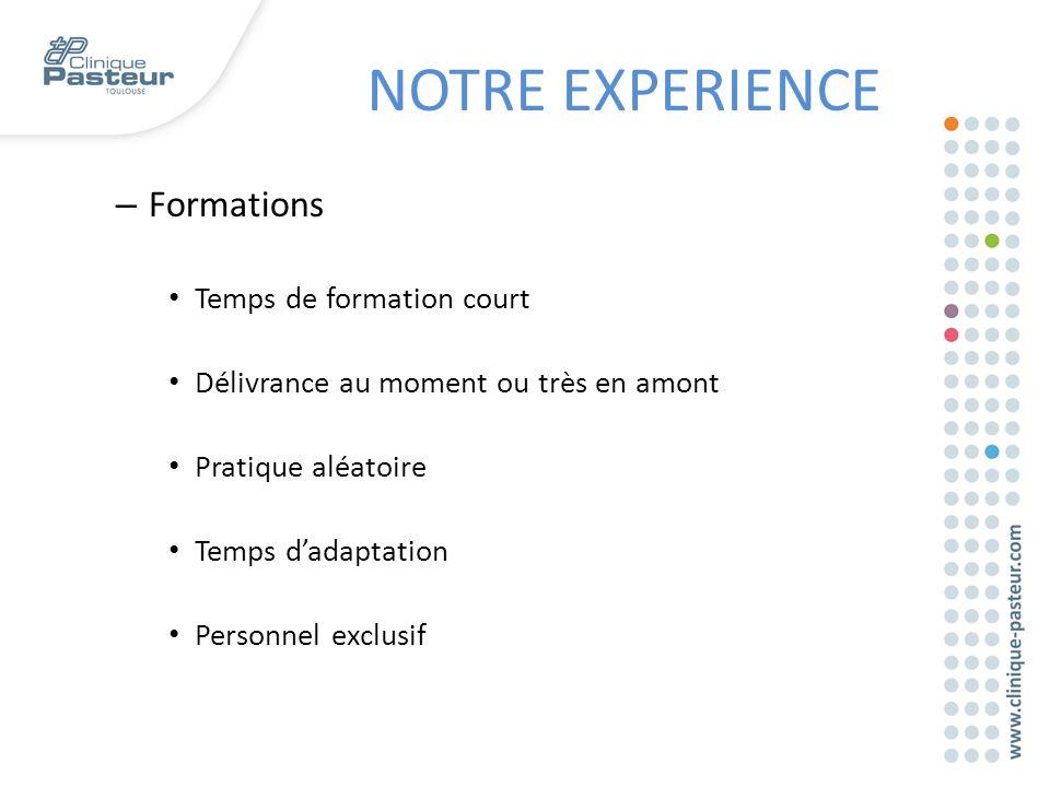 – Formations Temps de formation court Délivrance au moment ou très en amont Pratique aléatoire Temps d'adaptation Personnel exclusif NOTRE EXPERIENCE