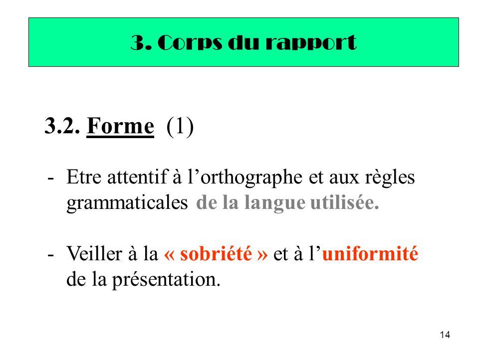 14 3.2. Forme (1) -Etre attentif à l'orthographe et aux règles grammaticales de la langue utilisée. -Veiller à la « sobriété » et à l'uniformité de la