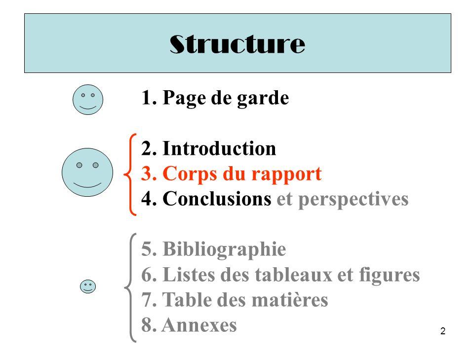 2 1. Page de garde 2. Introduction 3. Corps du rapport 4. Conclusions et perspectives 5. Bibliographie 6. Listes des tableaux et figures 7. Table des