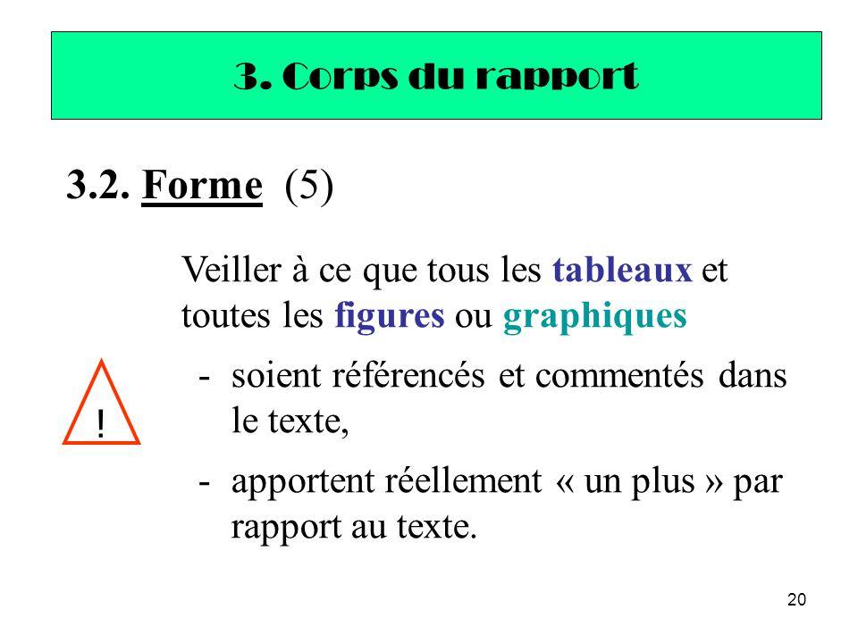20 3. Corps du rapport 3.2. Forme (5) ! Veiller à ce que tous les tableaux et toutes les figures ou graphiques -soient référencés et commentés dans le