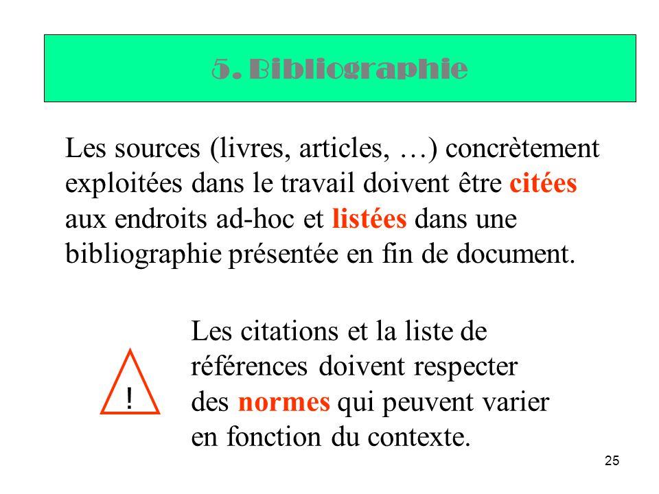 25 5. Bibliographie Les sources (livres, articles, …) concrètement exploitées dans le travail doivent être citées aux endroits ad-hoc et listées dans